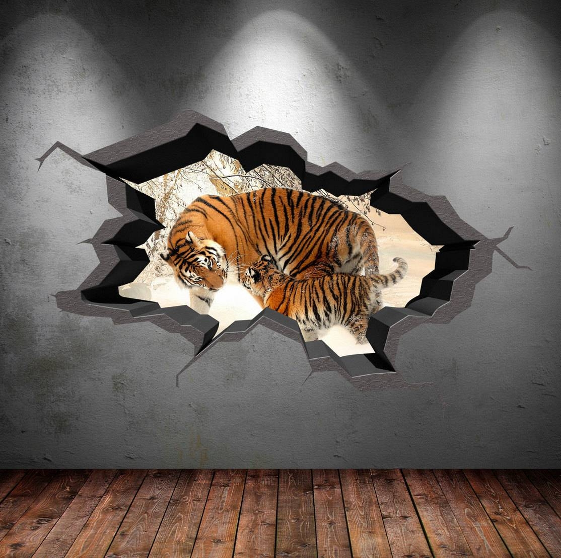 3D Tiger Wall Decal Wild Animals Cracked Full Colour Wall Art For Newest Animals 3D Wall Art (Gallery 3 of 20)
