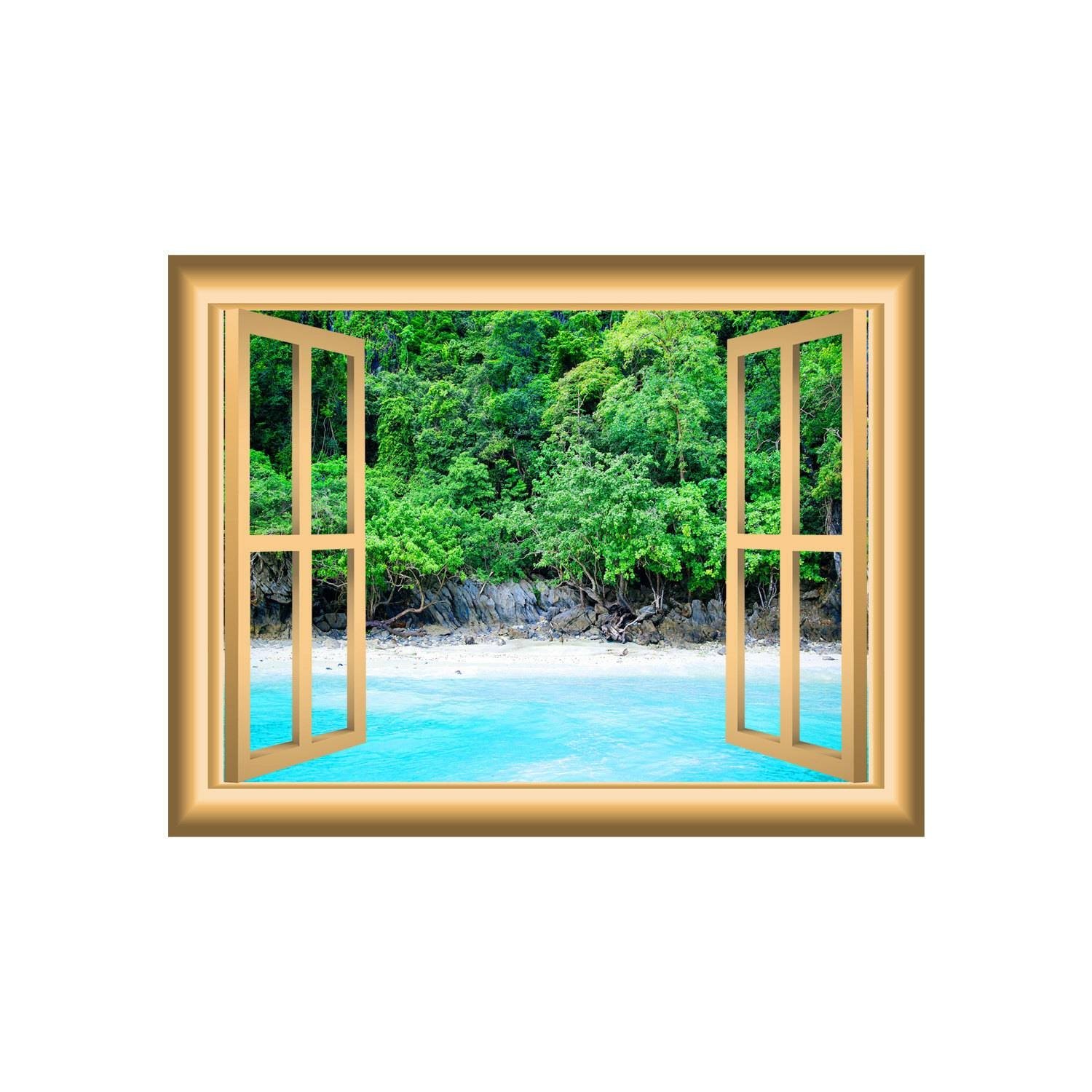 3D Wall Art Beach Scenery Decal Ocean And Trees Window Frame Regarding Best And Newest Beach 3D Wall Art (Gallery 12 of 20)