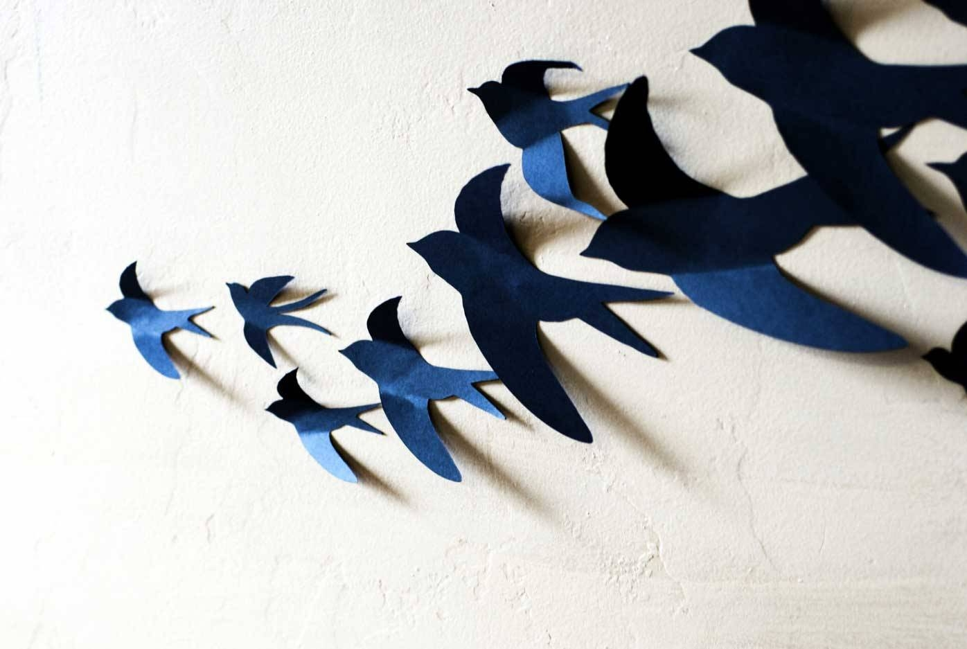 3D Wall Art Birds In Blue Color Ideas | Home Interior & Exterior With Regard To Most Popular Flock Of Birds Metal Wall Art (View 14 of 30)