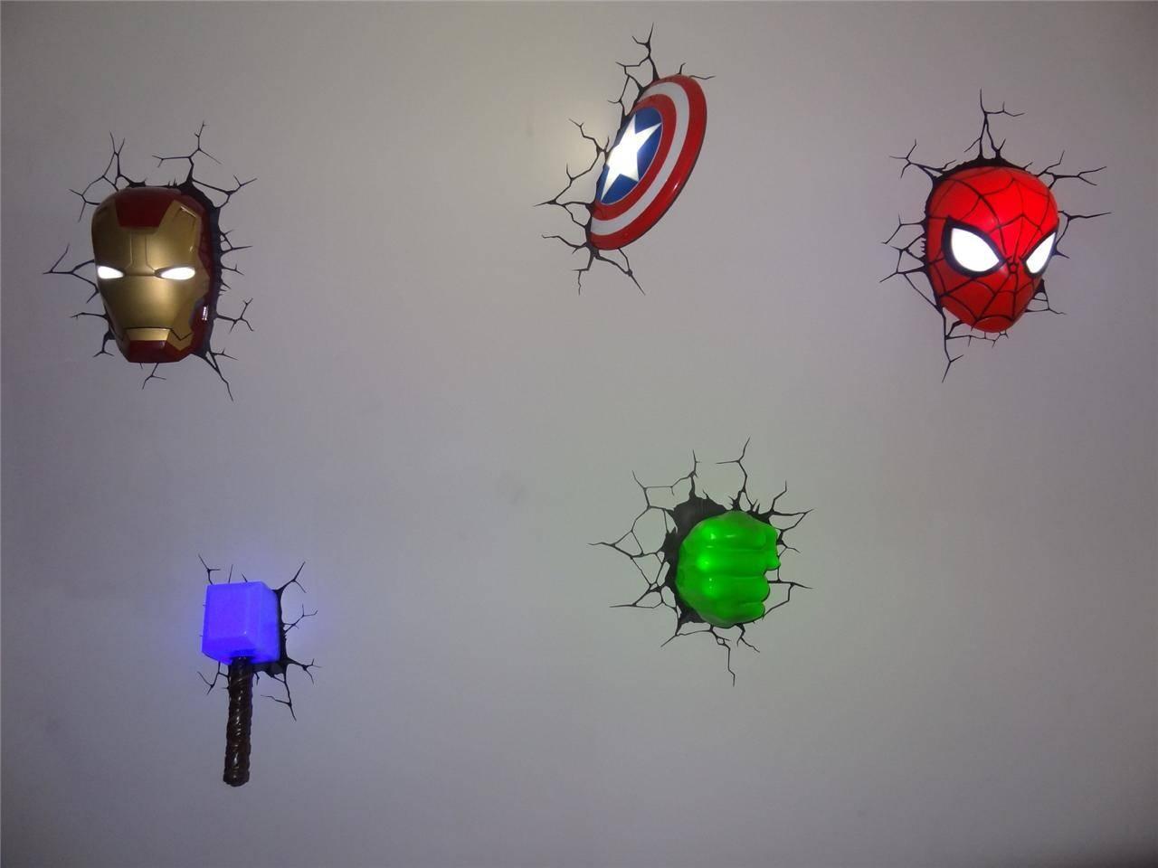 3D Wall Art Captain America Night Light | Wallartideas With 2018 Captain America 3D Wall Art (Gallery 5 of 20)