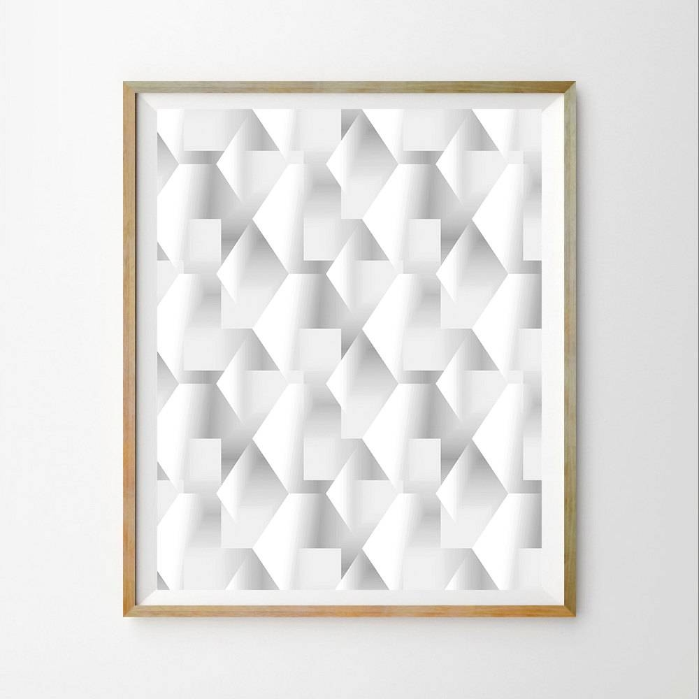 3D Wall Art Decor Geometric Wall Art Decor Print Geometric Art Throughout Latest White 3D Wall Art (View 2 of 20)