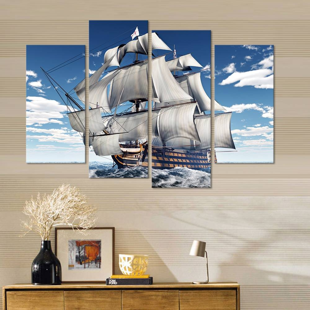 3d Wall Art Sailing Canvas Prints Sailboat Picture Hd Canvas Wall Inside Most Recent 3d Wall Art For Living Room (Gallery 10 of 20)