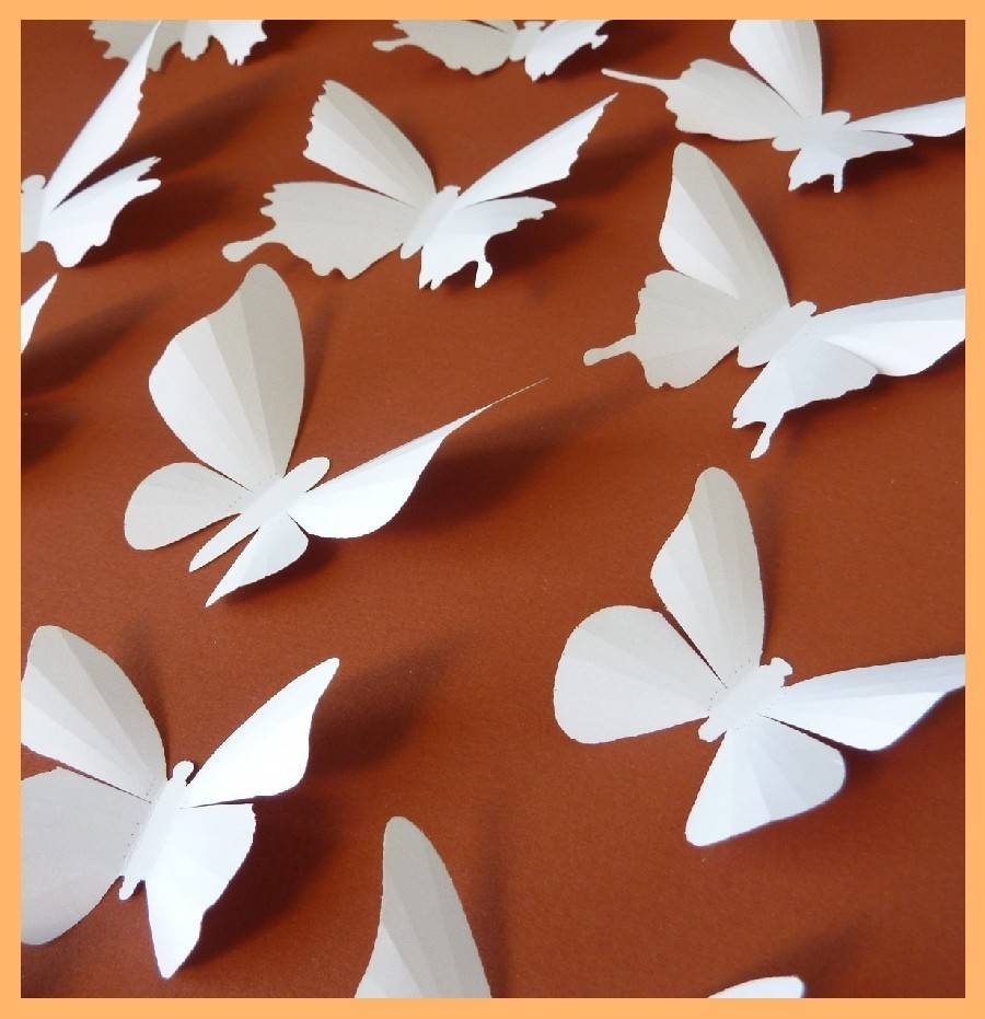 3D Wall Butterflies 15 White Butterfly Silhouettes Wedding Throughout 2017 White 3D Butterfly Wall Art (View 10 of 20)
