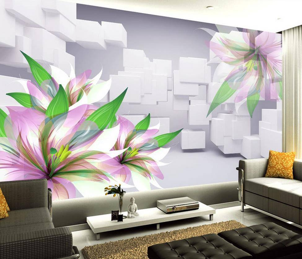 3D Wall Murals ,hd Hand Priting Flower Wallpaper, High End Mural With Regard To Newest 3D Wall Art Wallpaper (Gallery 6 of 20)