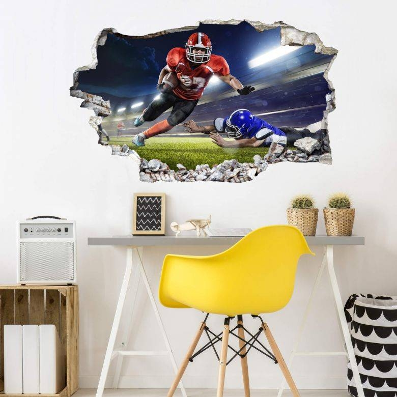 3D Wall Sticker American Football Player – Wall Art With Regard To 2018 Football 3D Wall Art (Gallery 7 of 20)