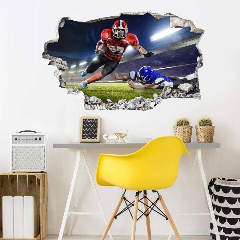 3d Wall Sticker American Football Player – Wall Art With Regard To 2018 Football 3d Wall Art (View 7 of 20)