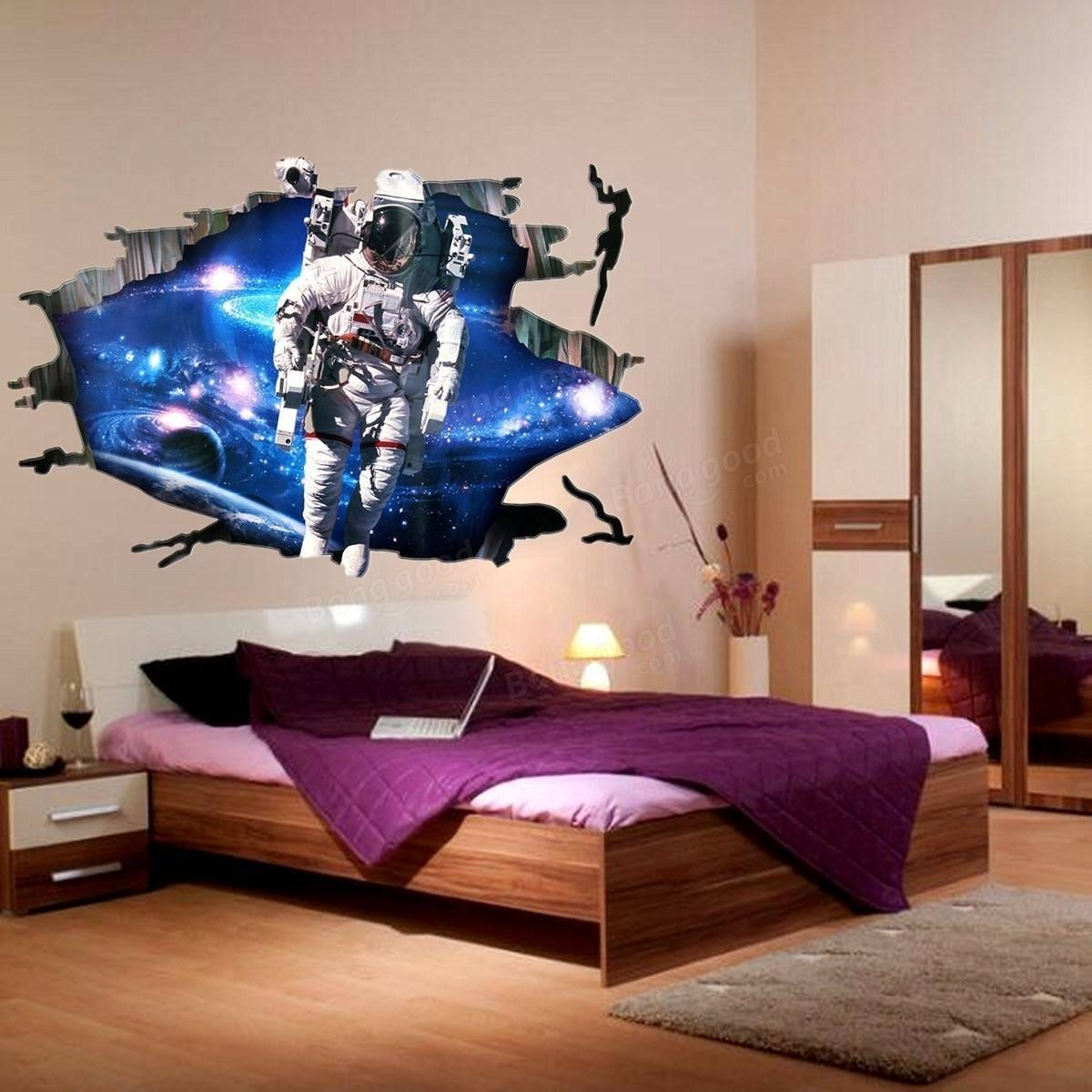 3D Wall Stickers Wallpaper Space Astronauts Decor Kids Room Decal inside Best and Newest Astronaut 3D Wall Art