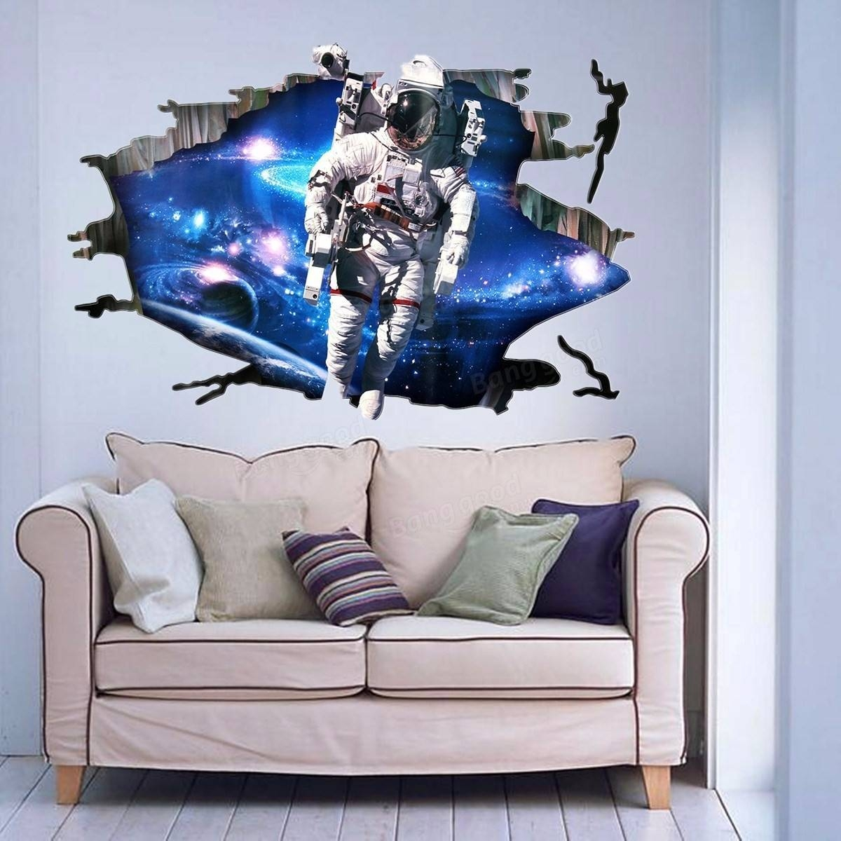 3D Wall Stickers Wallpaper Space Astronauts Decor Kids Room Decal Inside Current Astronaut 3D Wall Art (Gallery 7 of 20)