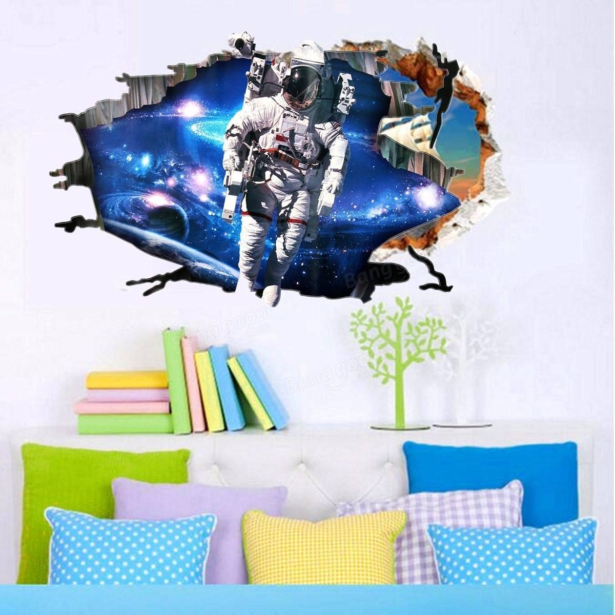 3d Wall Stickers Wallpaper Space Astronauts Decor Kids Room Decal Inside Newest Astronaut 3d Wall Art (View 18 of 20)