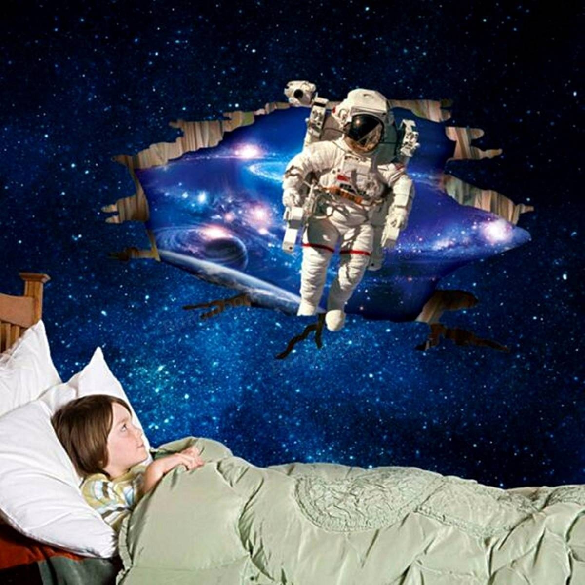 3D Wall Stickers Wallpaper Space Astronauts Decor Kids Room Decal Throughout 2017 Astronaut 3D Wall Art (View 10 of 20)