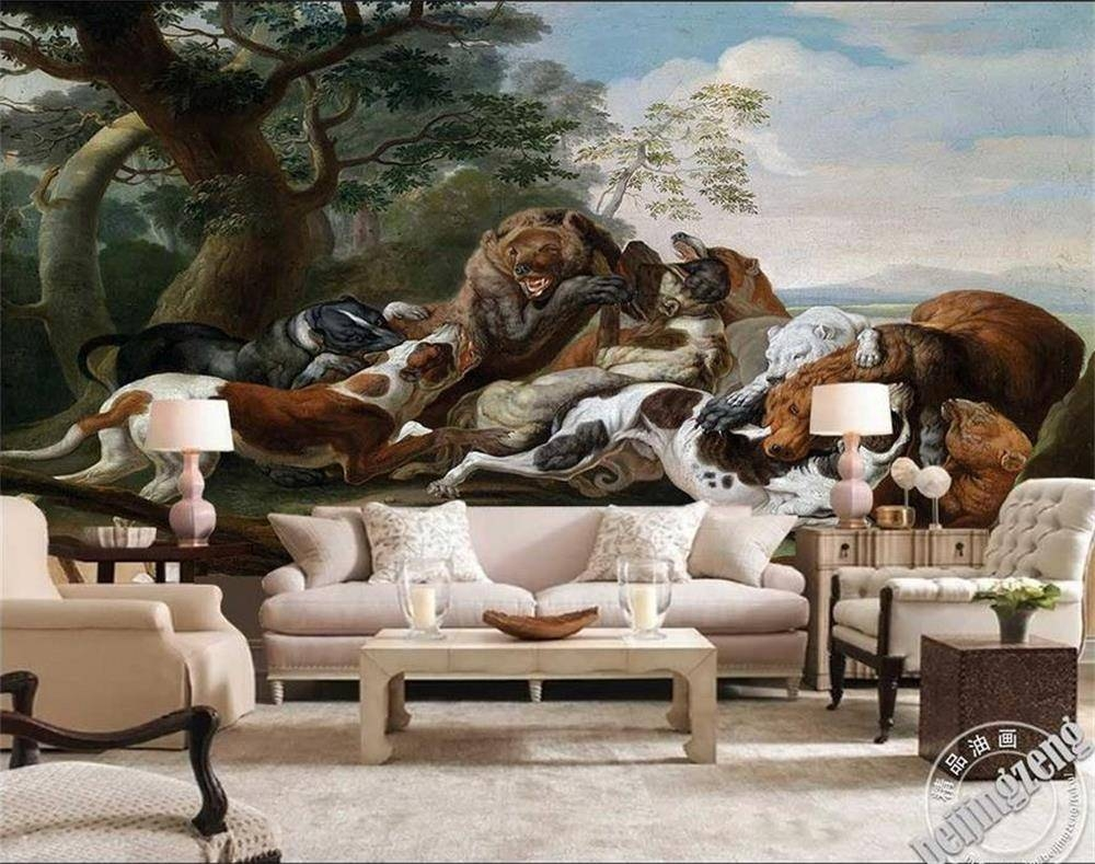 3d Wallpaper Photo Wallpaper 3d Wall Mural For Livingroom Battle Inside Current Dogs 3d Wall Art (View 18 of 20)