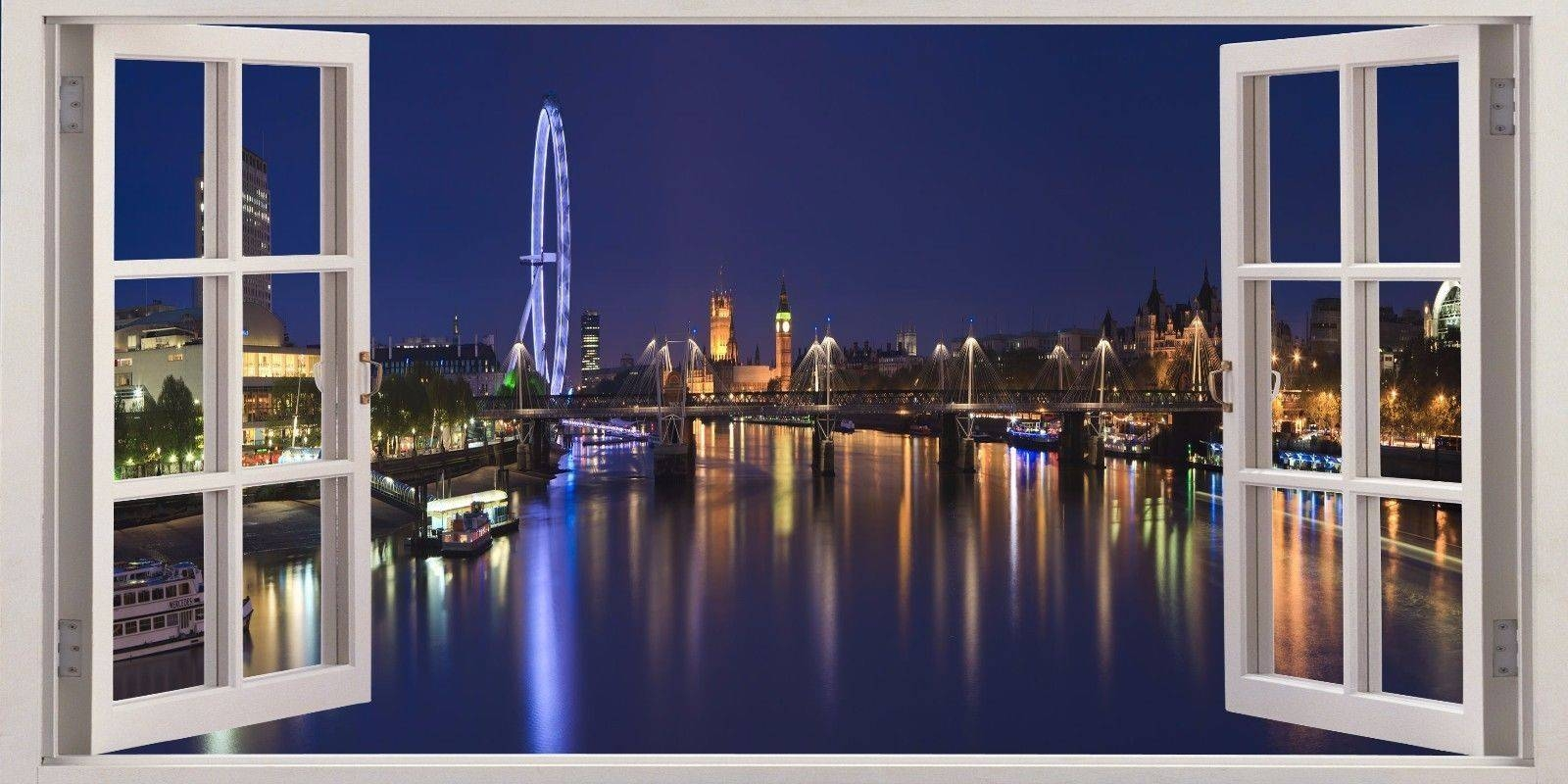 3D Window Effect On Canvas London Eye City Evening Scene Picture In Most Recently Released London Scene Wall Art (View 1 of 20)
