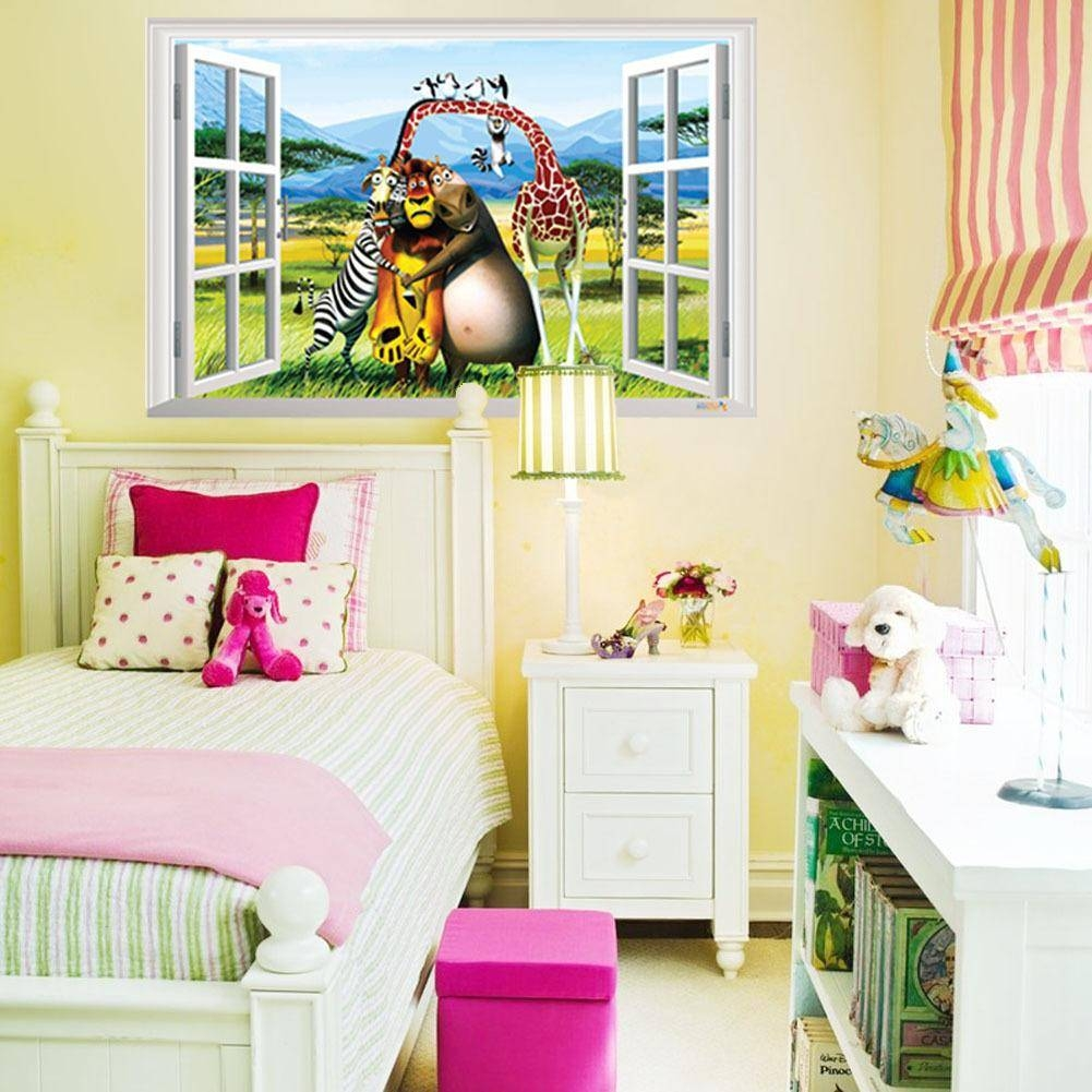 3D Window View Animals Forest Wall Art Mural Decal Sticker Cartoon With Regard To Most Recently Released Bedroom 3D Wall Art (View 6 of 20)