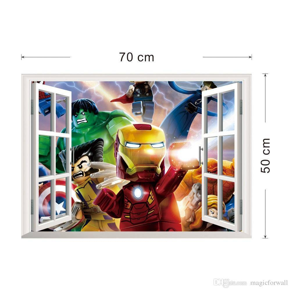 3D Window View The Lego Avengers Wall Art Decal Sticker Kids Boys Pertaining To Most Recently Released Superhero Wall Art For Kids (View 24 of 25)