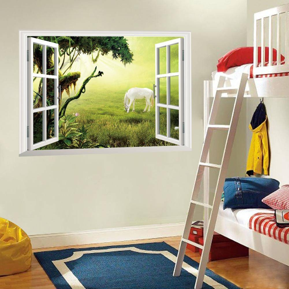 3D Window Wall Art Mural Sticker White Horse On The Grassland Wall Within Newest 3D Wall Art Window (Gallery 17 of 20)