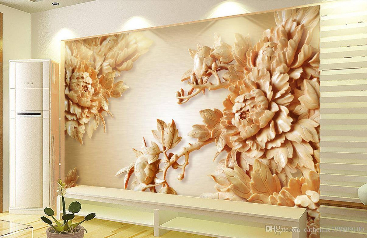 3d Wooden Peony Flower Tv Wall Mural 3d Wallpaper 3d Wall Papers With Regard To Latest 3d Wall Art Wallpaper (View 9 of 20)