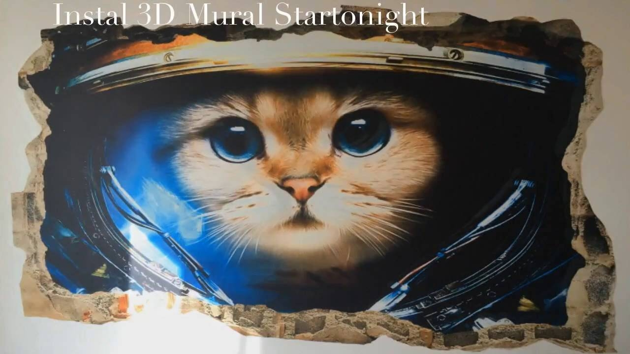 3Dmural101 Startonight 3D Mural Wall Art Astronaut Cat Amazing With Latest Astronaut 3D Wall Art (Gallery 15 of 20)