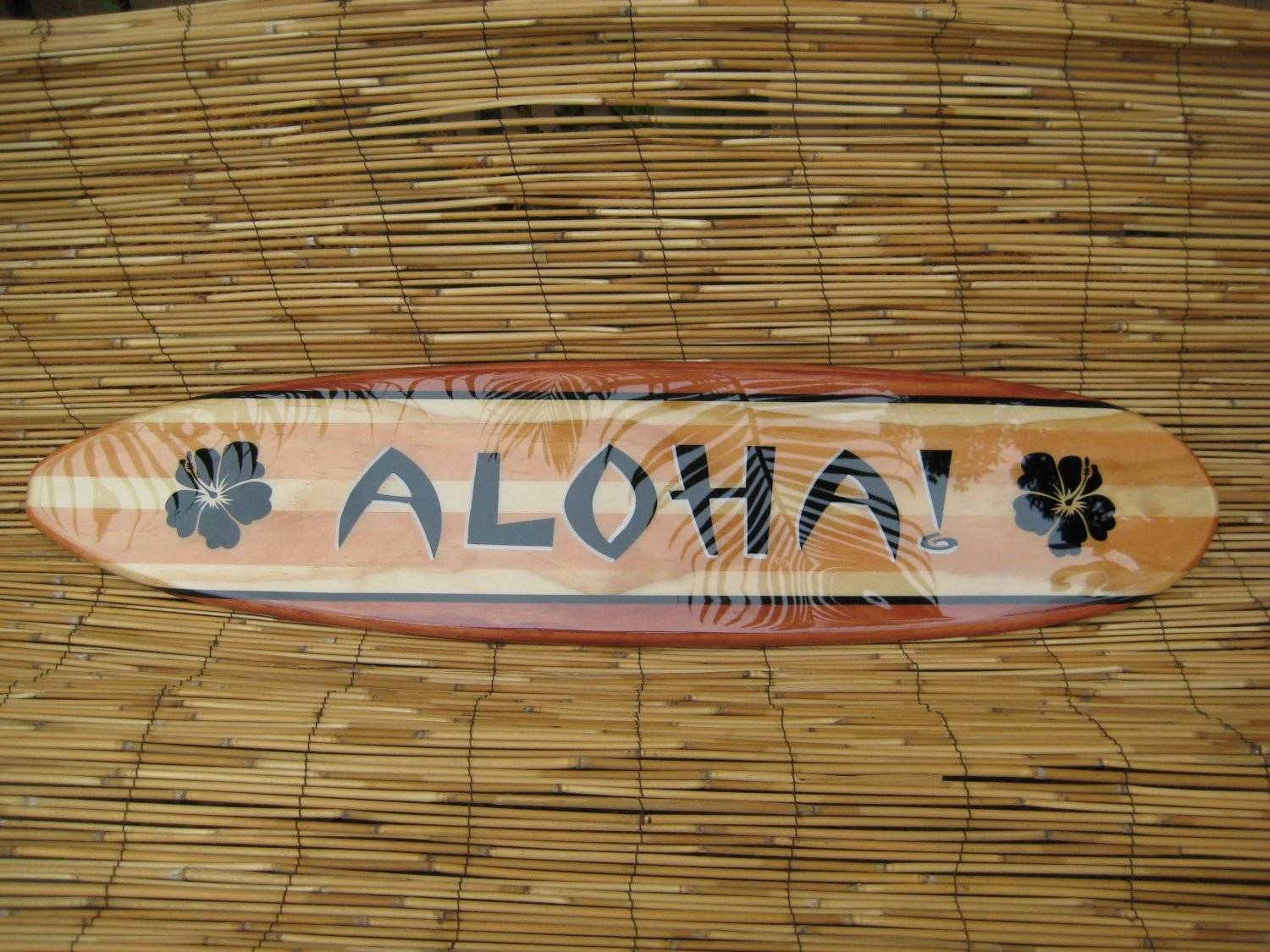 3Ft Decorative Hawaiian Aloha Surfboard Wall Arttiki Soul Intended For Best And Newest Decorative Surfboard Wall Art (View 3 of 25)