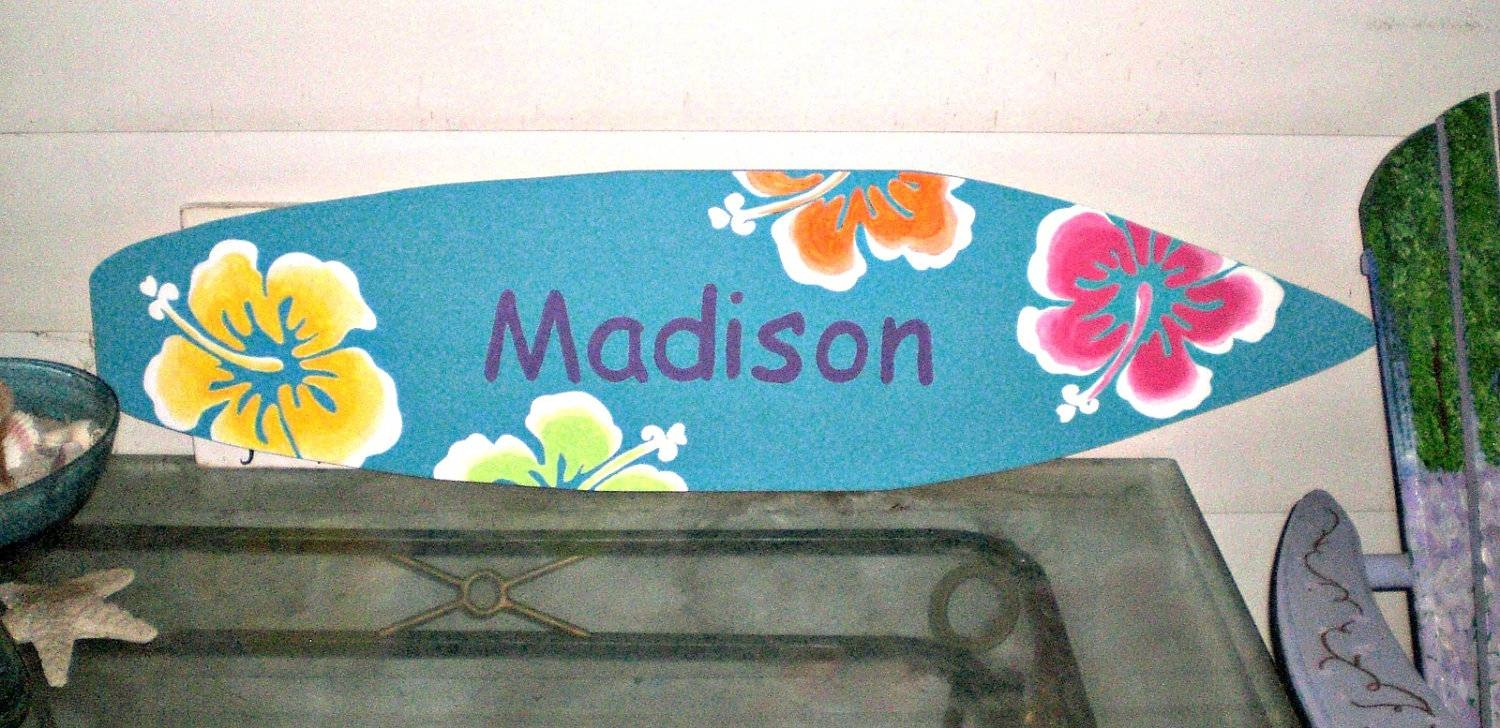 4 Foot Surfboard Wall Art Hawaiian Beach Decor Wall Hanging Regarding Latest Hawaiian Wall Art (Gallery 18 of 20)