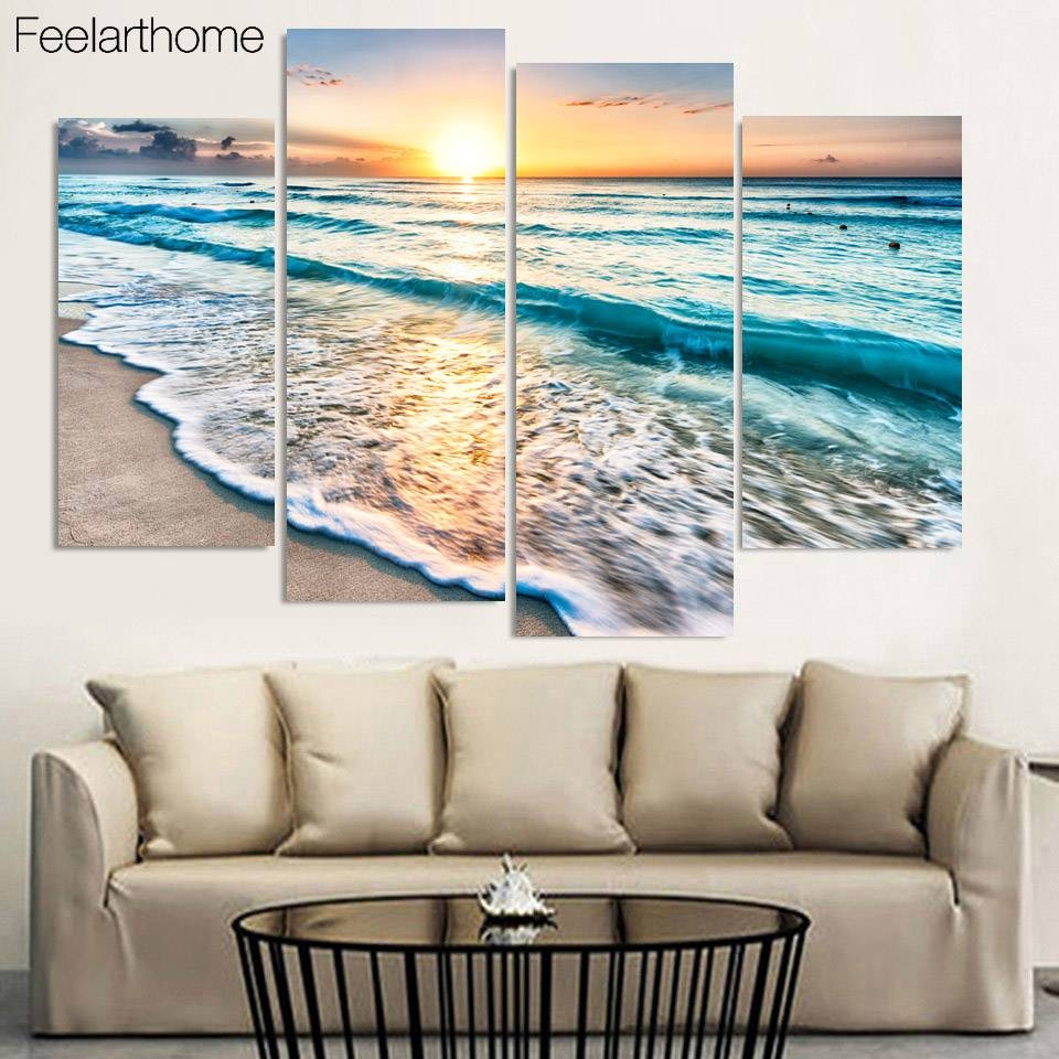4 Panel Free Shipping Seascape Sunset Beach Sand Print Painting On For Most Current Beach Wall Art (View 3 of 15)