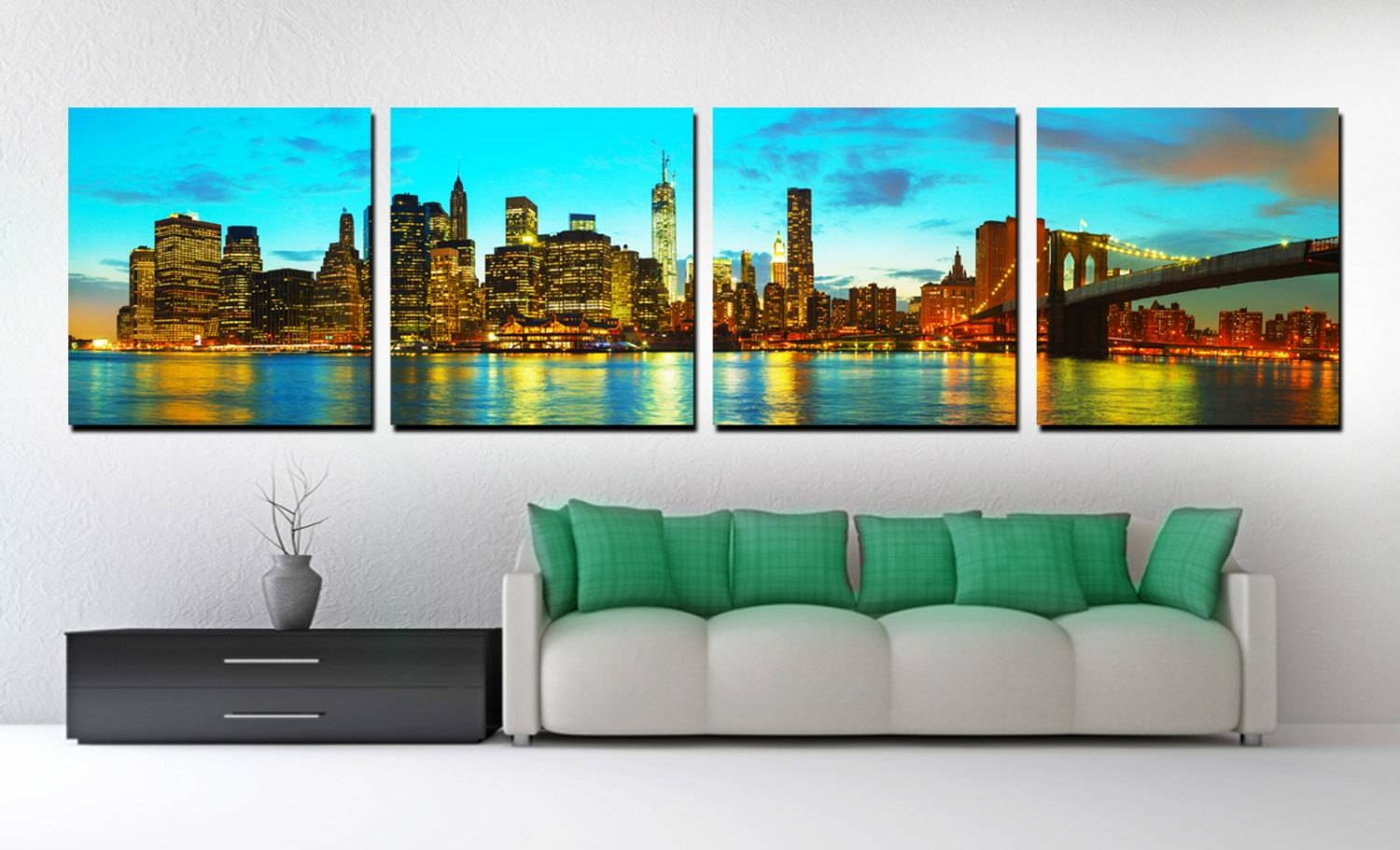 4 Panel Split New York Skyline Panoramic Canvas Print (View 2 of 20)
