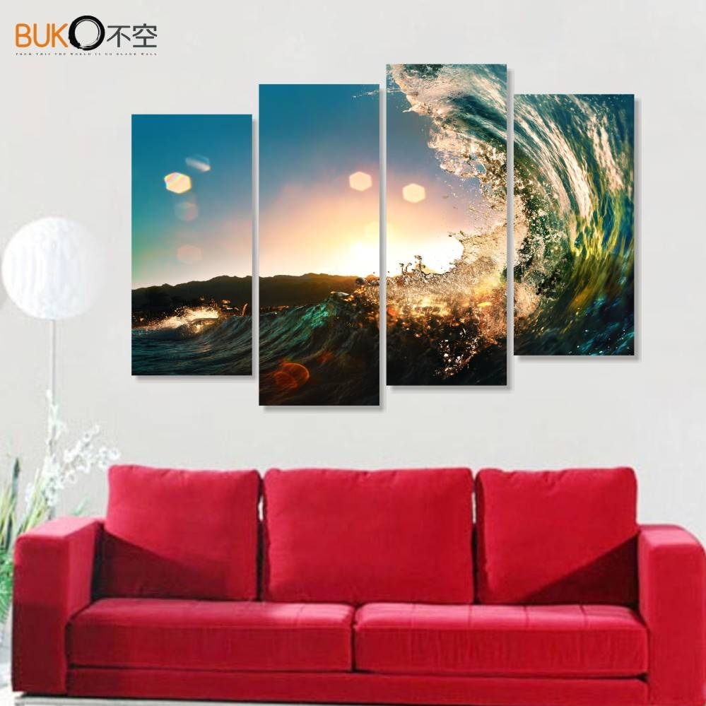 4 Panels Canvas Art Waves Closeup Photograph Painting Modular Wall With Newest Modular Wall Art (View 6 of 25)