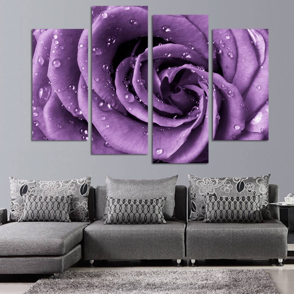 4 Panels Canvas Print Purple Rose Painting On Canvas Wall Art With Regard To 2018 Purple Wall Art Canvas (Gallery 10 of 20)