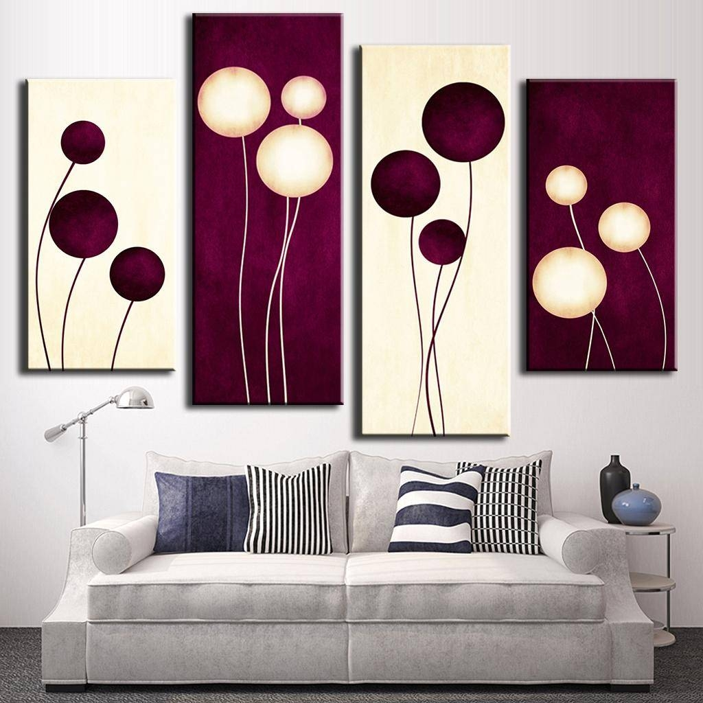 4 Pcs/set Abstract Wall Art Simple Purple White Circles Balloon For Best And Newest Purple Abstract Wall Art (Gallery 15 of 20)