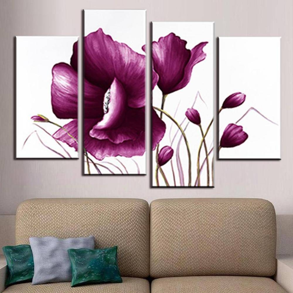 4 Pcs/set Canvas Wall Art Picture Combined Flower Paintings Plum With Regard To Most Recent Plum Wall Art (Gallery 2 of 20)