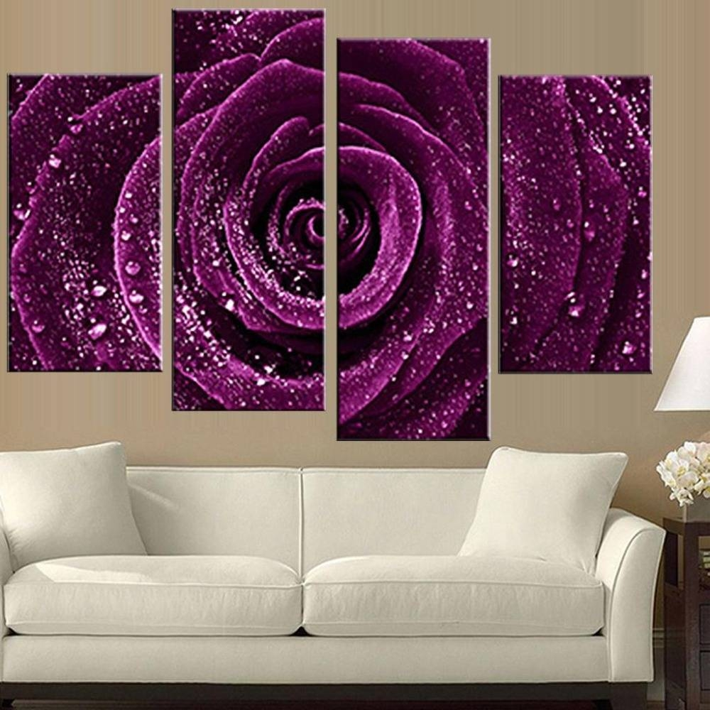 4 Pcs/set Combined Flower Paintings Purple 3D Rose Modern Wall Inside Best And Newest Rose Canvas Wall Art (Gallery 10 of 20)