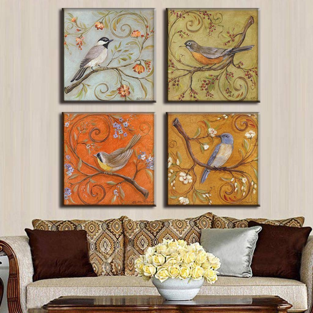 4 Pcs/set Traditional Chinese Modern Wall Paintings Chinoiserie For Most Popular Chinoiserie Wall Art (Gallery 16 of 30)