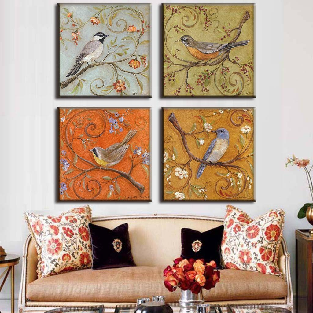 4 Pcs/set Traditional Chinese Modern Wall Paintings Chinoiserie Intended For Most Recently Released Chinoiserie Wall Art (Gallery 7 of 30)