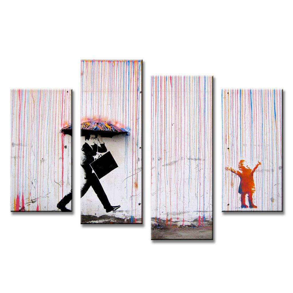 4 Piece Canvas Art Picture,banksy Art Colorful Rain Oil Paintings Pertaining To Most Current Banksy Canvas Wall Art (View 16 of 20)