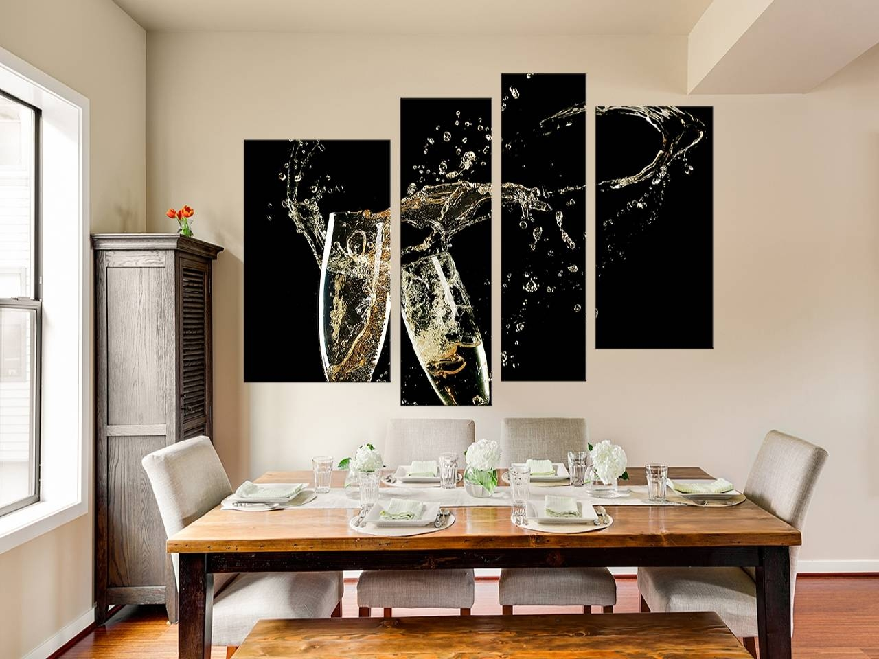 4 Piece Canvas Wall Art Black Large Canvas Champagne Multi Panel Inside  Current Multiple Piece Canvas