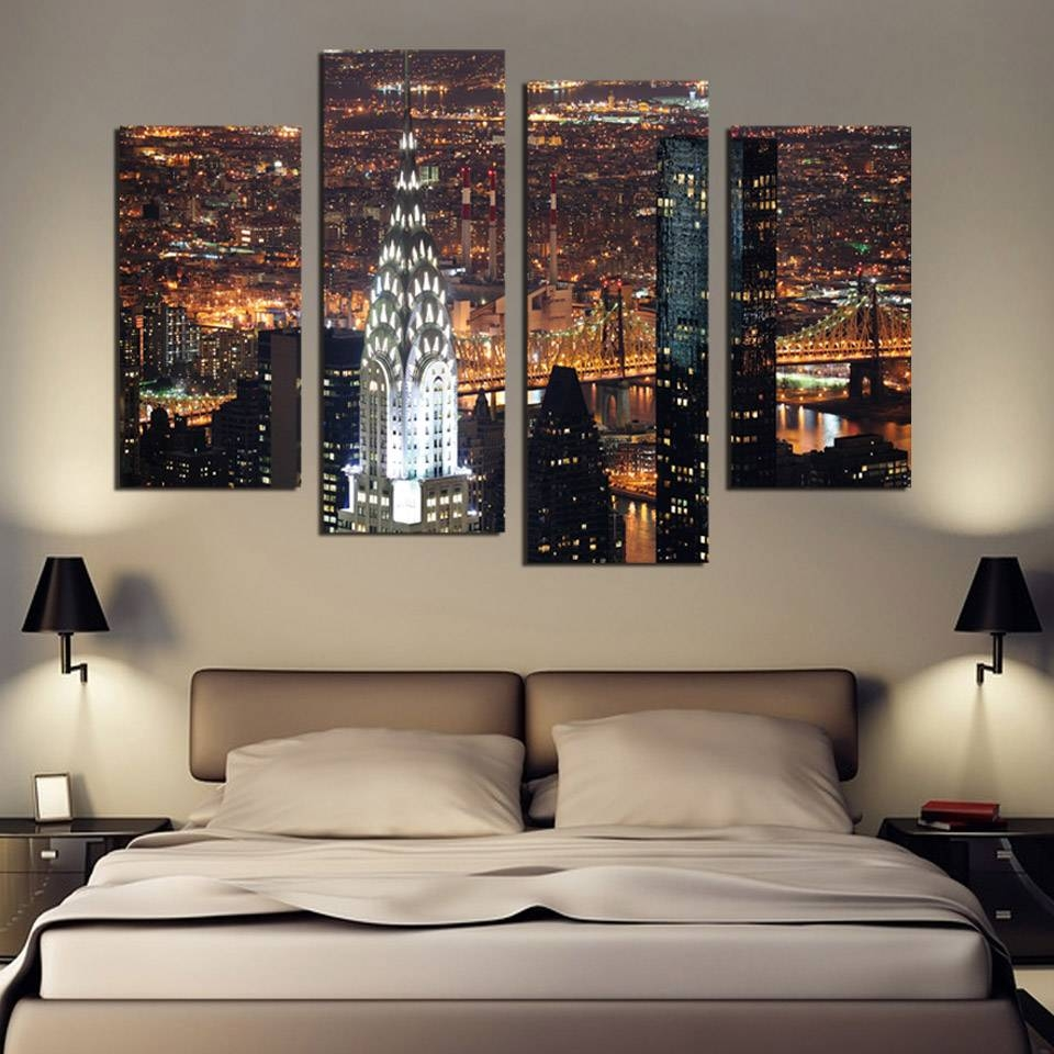 4 Piece Wall Art New York Manhattan Usa With Lights In Nice Night Inside 2017 4 Piece Wall Art (View 2 of 15)