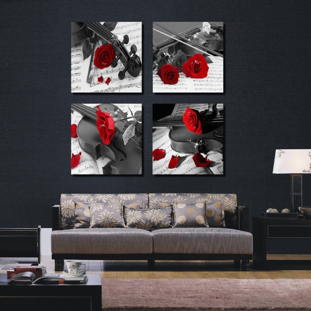 4 Pieces Combinated Guitar Rose Flower Canvas Painting Romantic Regarding Latest Black And White Wall Art With Red (View 3 of 25)