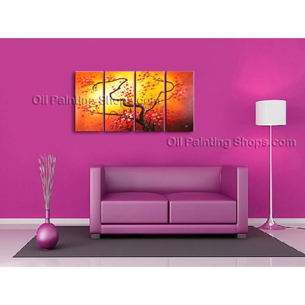 4 Pieces Contemporary Wall Art Floral Plum Blossom Artist Artworks For Most Popular Plum Wall Art (Gallery 17 of 20)