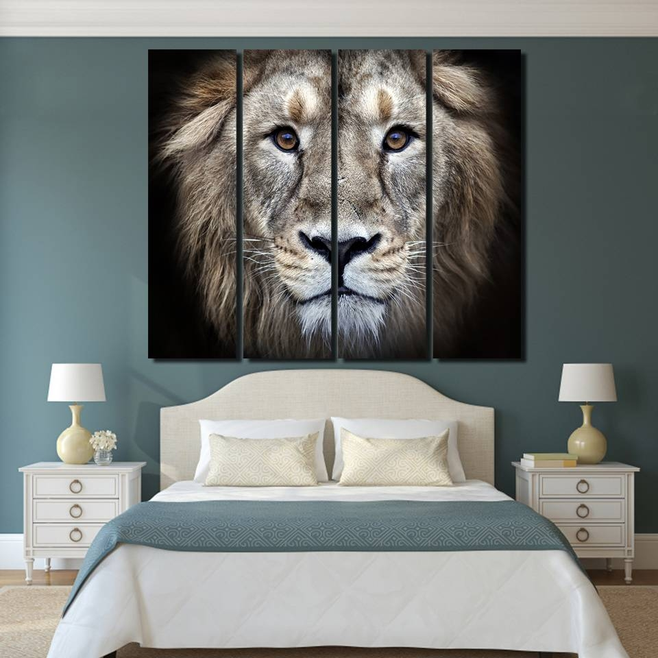 4 Pieces Wild Lion Artwork Wall Art Canvas Pictures For Living With Most Current Lion Wall Art (View 12 of 20)