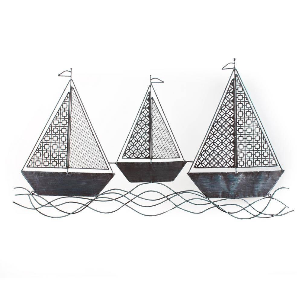 40 In. X 23 In.sailboat Metal Wall Decor Dn0005 – The Home Depot For Recent Metal Sailboat Wall Art (Gallery 18 of 30)