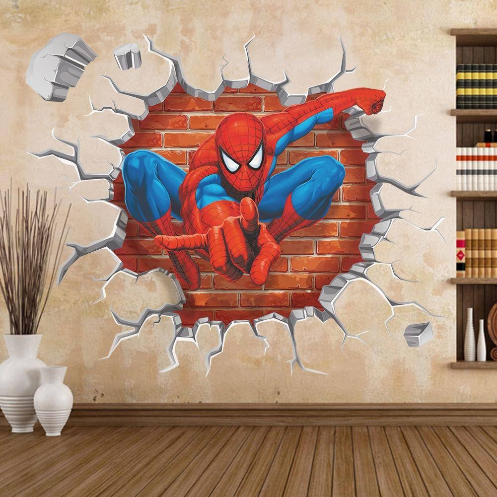 45*60 3D Cartoon Spiderman Wall Stickers Removable Pvc Home Decals Regarding Current 3D Wall Art (View 11 of 30)