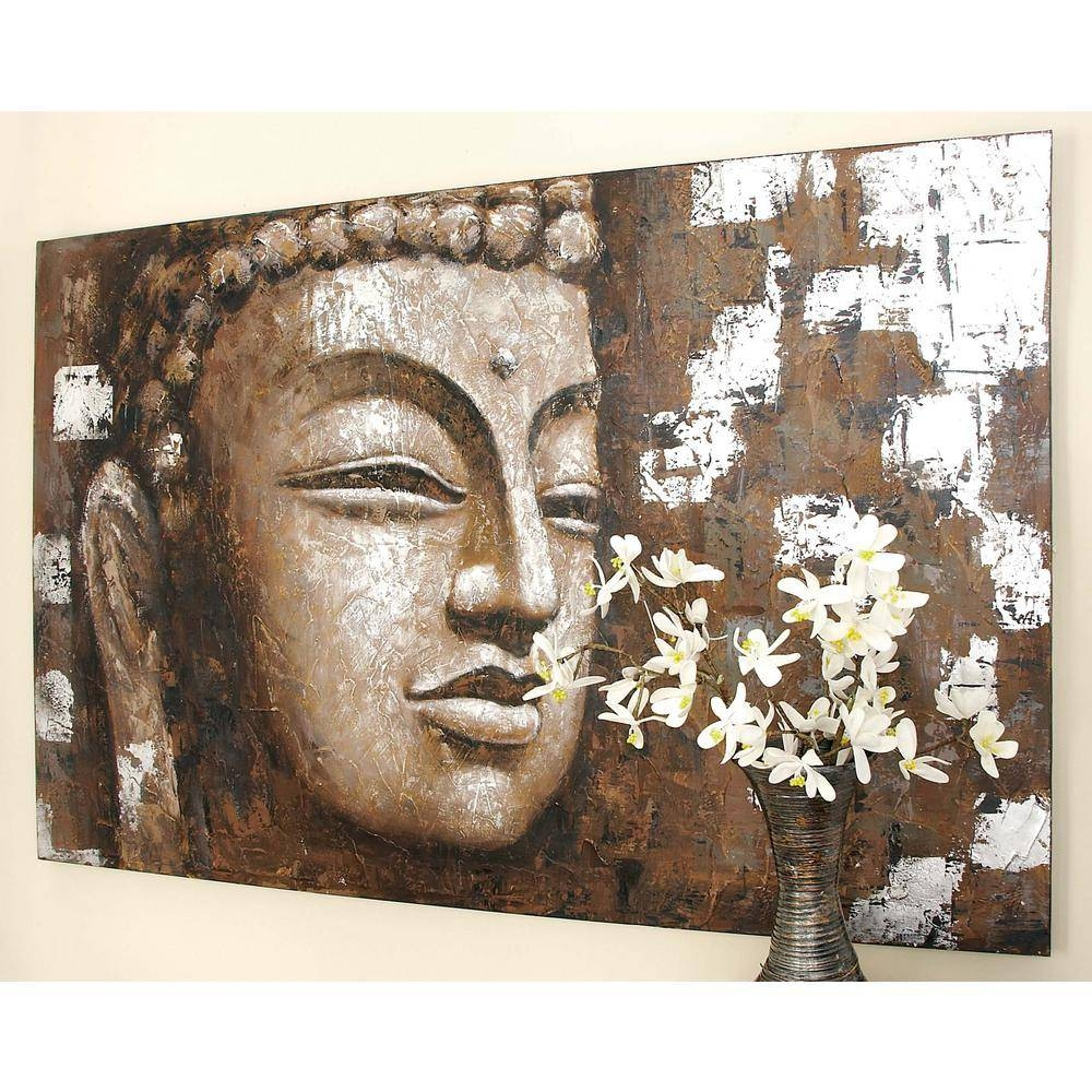 47 In. X 71 In. Wooden Buddha Face Wall Art In Distressed Brown Inside Most Up To Date Buddha Wood Wall Art (Gallery 15 of 20)