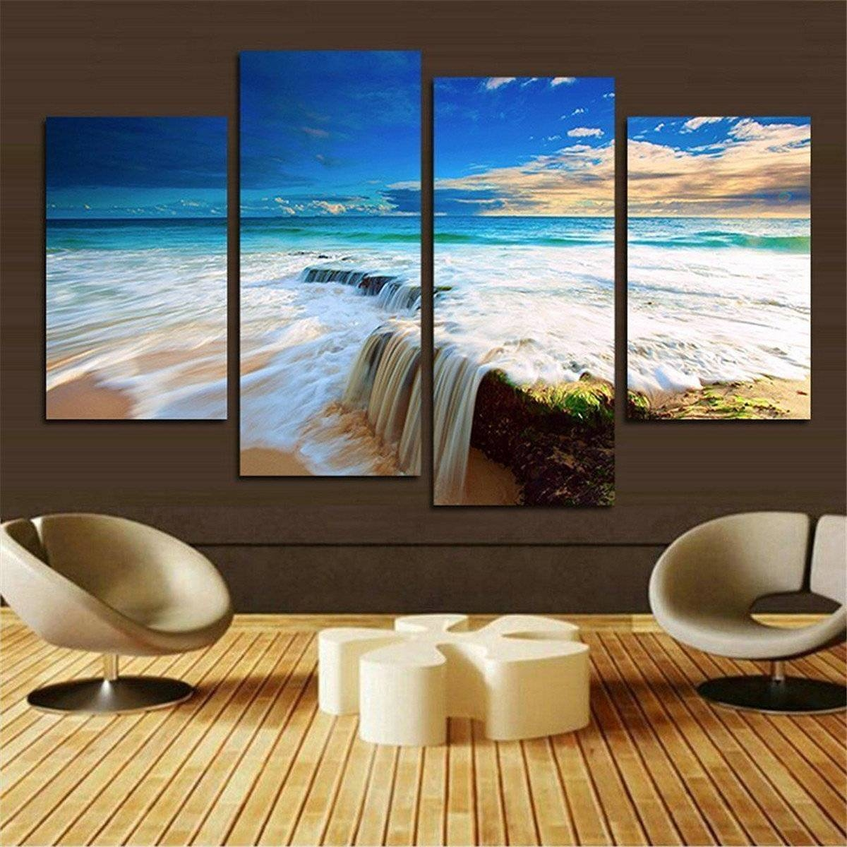 4Pcs Ocean Unframed Landscape Huge Modern Abstract Canvas Wall Art Throughout 2018 Abstract Canvas Wall Art (View 5 of 20)