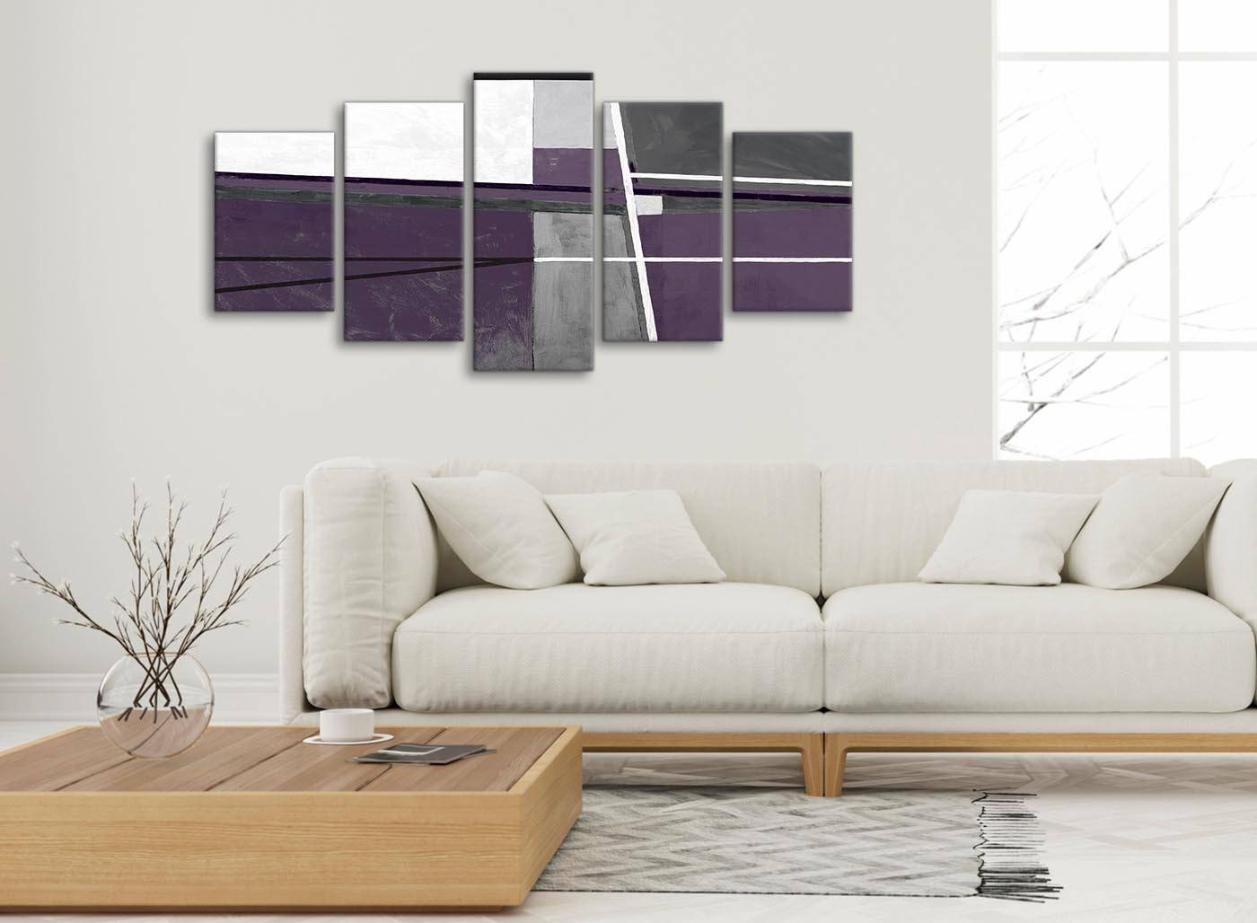 5 Panel Aubergine Grey Painting Abstract Bedroom Canvas Pictures Inside Current Aubergine Wall Art (View 3 of 20)