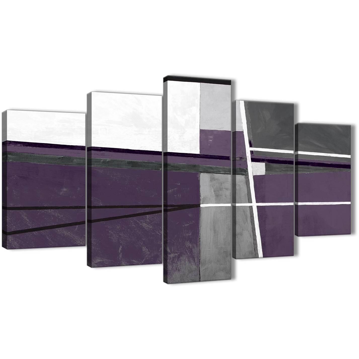 5 Panel Aubergine Grey Painting Abstract Bedroom Canvas Pictures Within Recent Aubergine Wall Art (View 4 of 20)