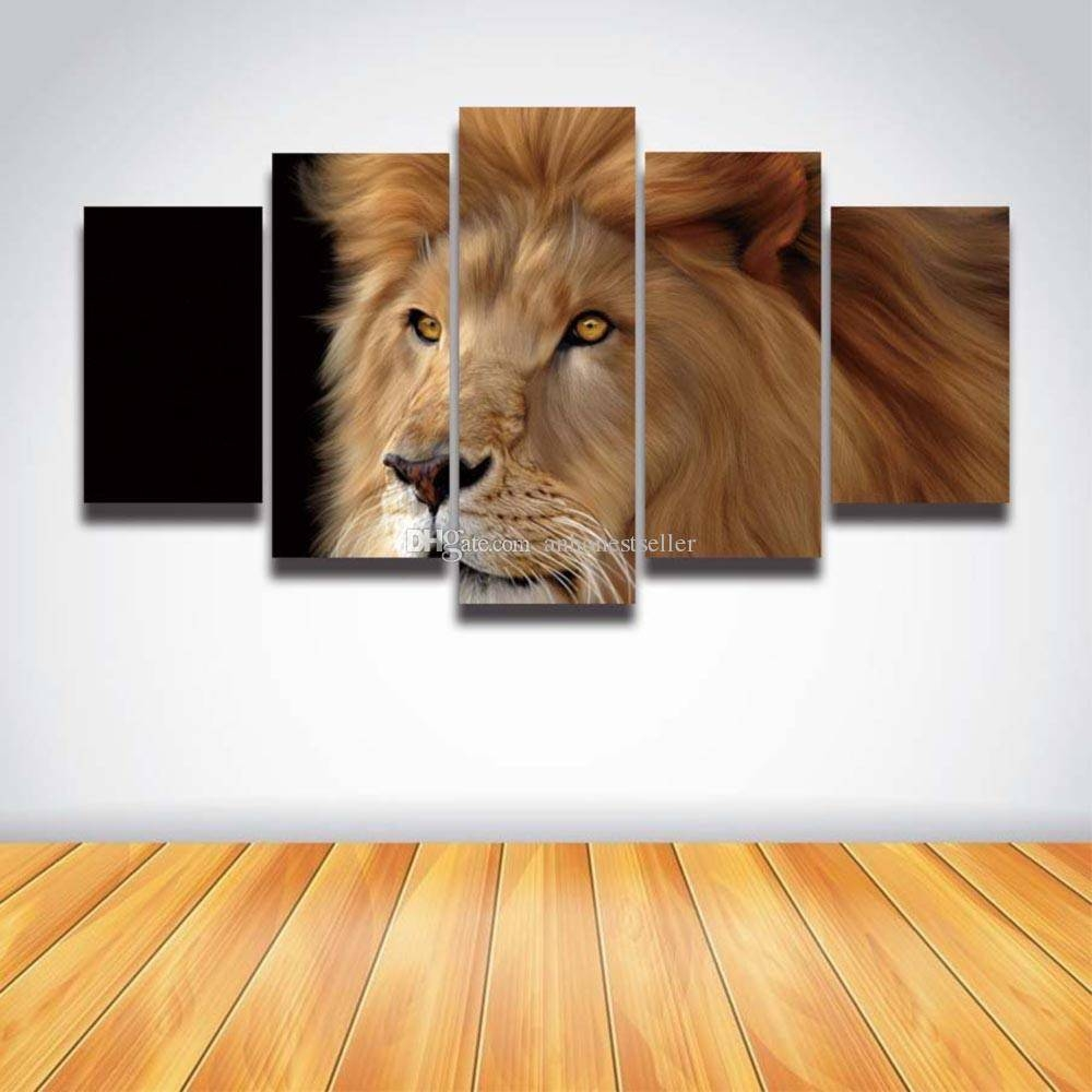 5 Panel Canvas Wall Art Prints Lion Head Painting Animal Modular In Most Popular Lion Wall Art (View 2 of 20)