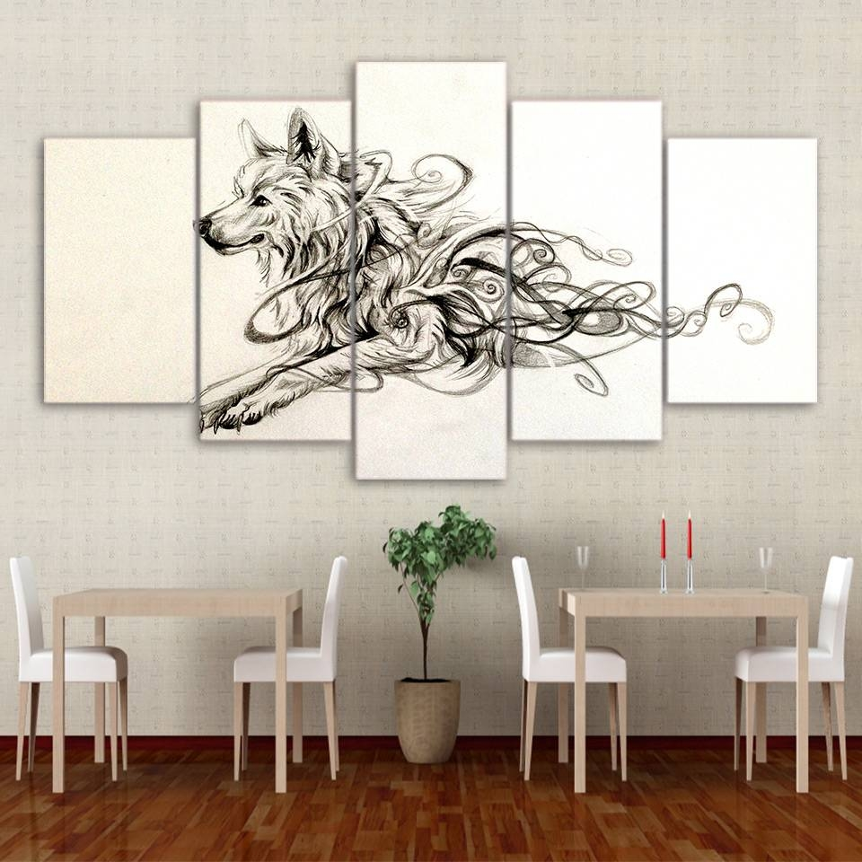 5 Panel Framed Hd Printed Artistic Running Wolf Animal Canvas Wall Regarding Newest Animal Canvas Wall Art (View 4 of 20)