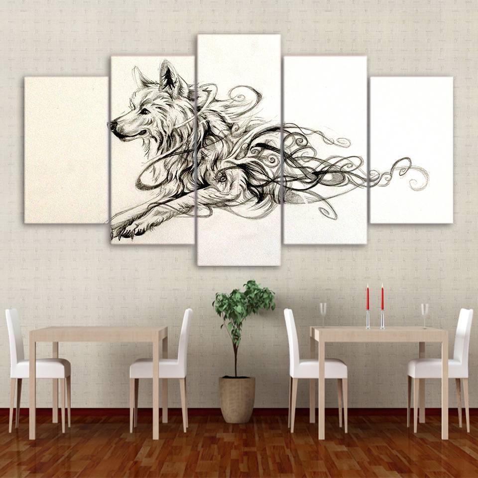 5 Panel Framed Hd Printed Artistic Running Wolf Animal Canvas Wall regarding Newest Animal Canvas Wall Art
