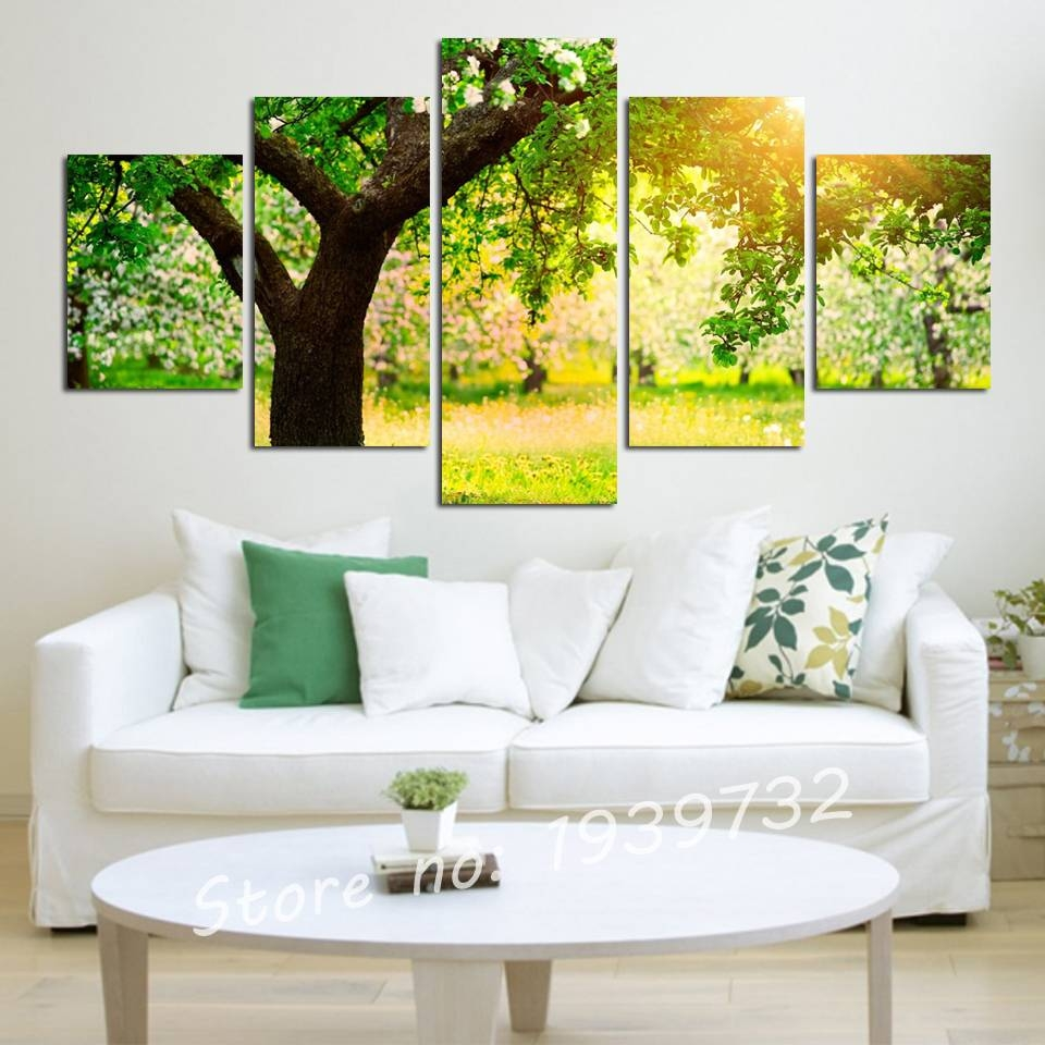5 Panel Green Tree Painting Canvas Wall Art Picture Home Within Most Current Green Canvas Wall Art (View 5 of 20)
