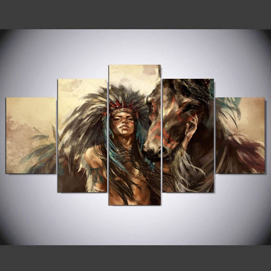5 Panel Hd Native American Girl And Horse Art Print Canvas Art In Best And Newest Native American Wall Art (View 4 of 25)