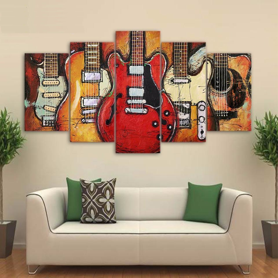 "5 Panel ""weilne Guitar"" Canvas Wall Art 
